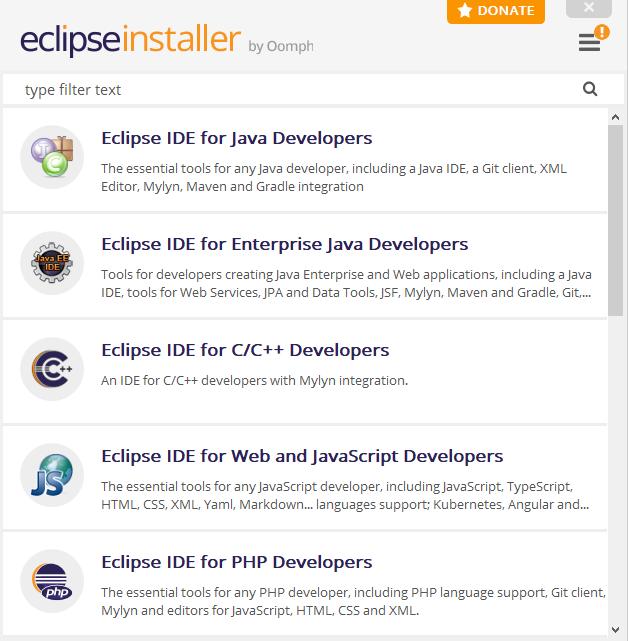 Installer Eclipse IDE Vs5up110