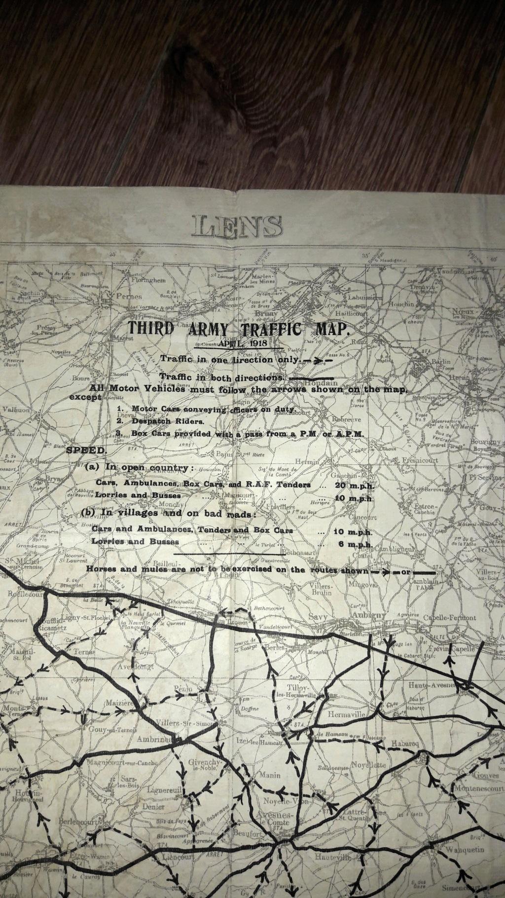 """Carte militaire US de la 3ème armée avril 1918 """"LENS"""" 20201211"""