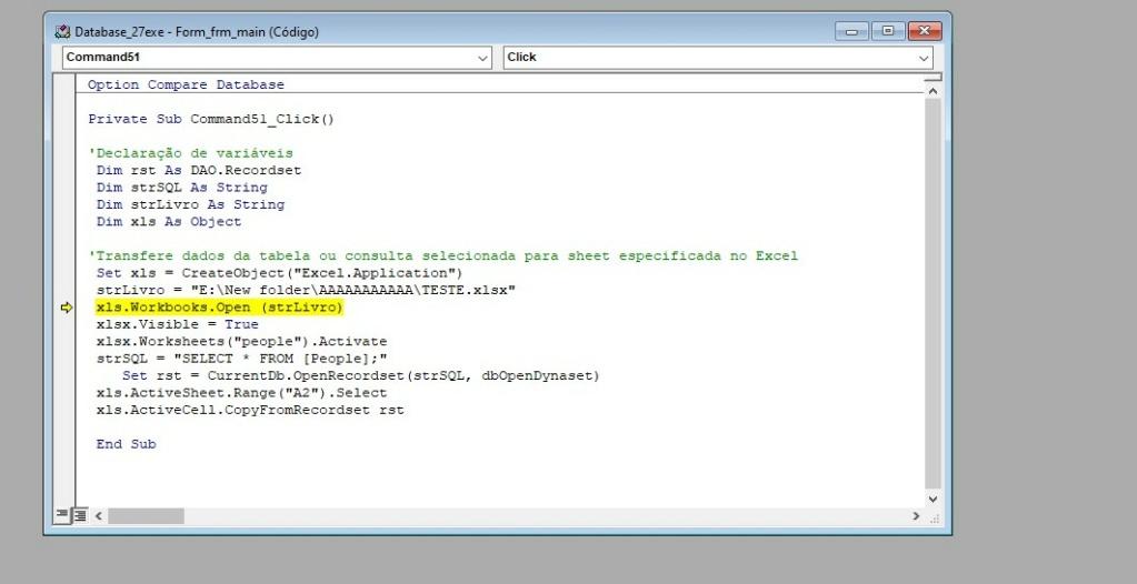 """[Resolvido]Exportar  dados """"atualziar"""" via (consulta ou tabela) para uma sheet específica Excel Screen14"""