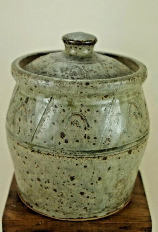 Ash Glazed Lidded Jar, pg mark - Paul Green  20210311