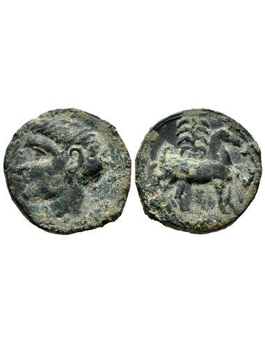 Calco hispano-cartaginés. Busto de Melkart/caballo parado. Cartag10