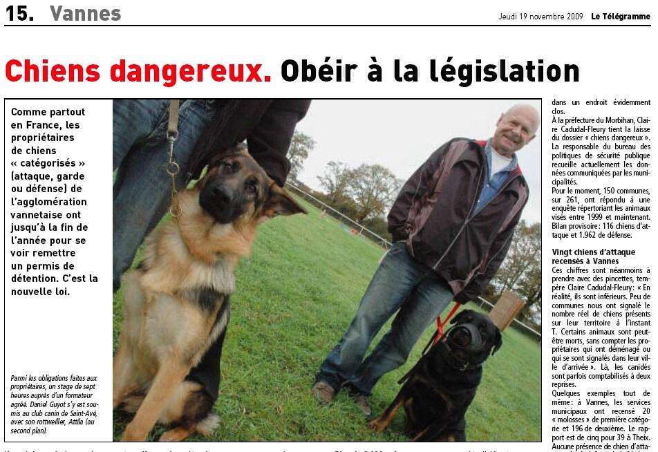ARTICLE PERMIS CHIEN LE TELEGRAMME VANNES Screen12
