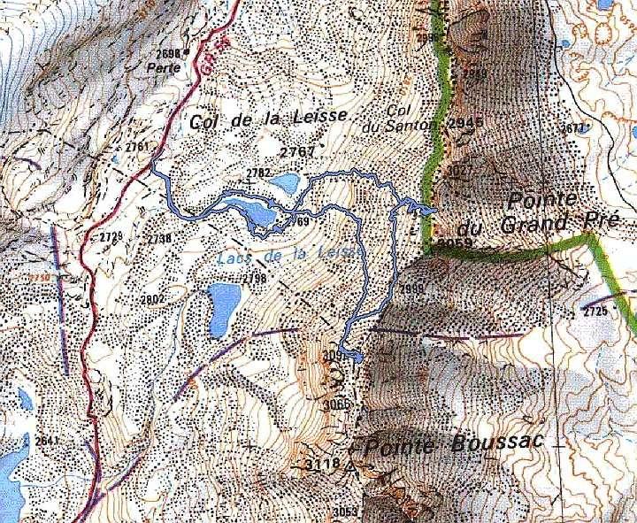Les lacs de la Leisse et l'arête du Génépy Carte10
