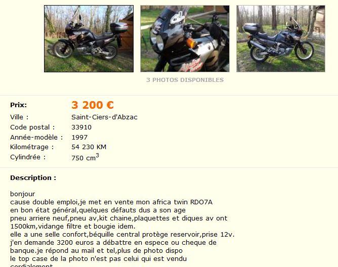 ( vendue )vend 750 africa twin  Frica210