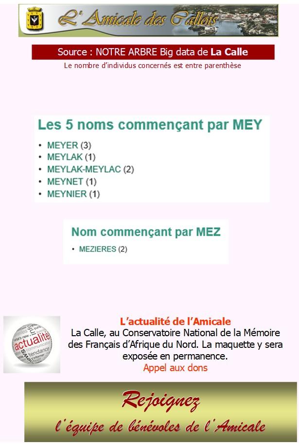 Les patronymes en lien avec La Calle commençant par M Mey-me10