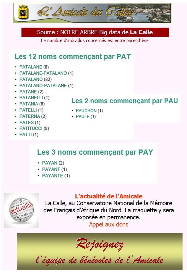 Les patronymes en lien avec La Calle commençant par P Pat-pa11