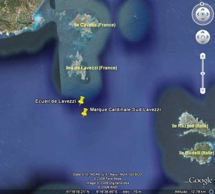 Marques et dangers nautiques, Corse et Sardaigne. Marque10