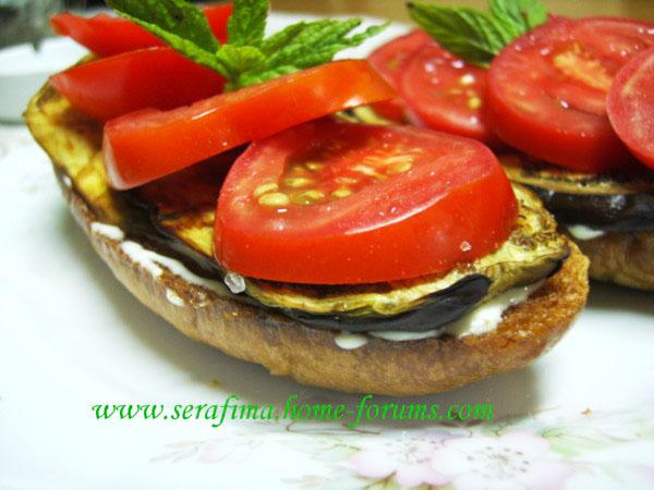 Бутерброд с запеченым баклажаном и свежими помидорами Imag0022
