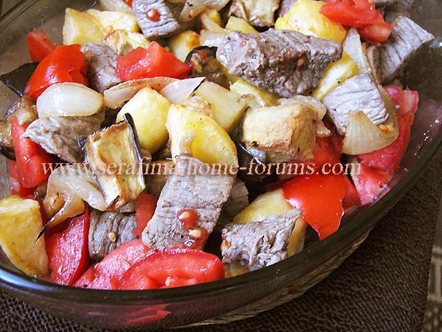 Саниет худар ма ляхма. Запеченые овощи с мясом. Арабская кухня Imag0538