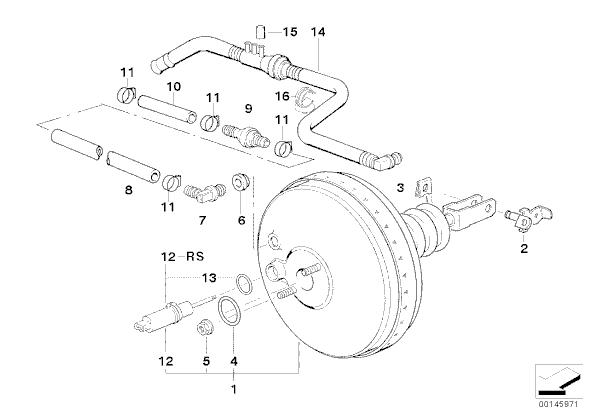 [ BMW E36 325 TD an 1995 ] tuyau circuit servo-frein 34_ate10