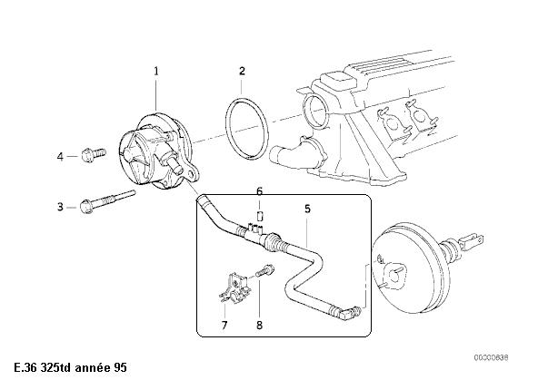 [ BMW E36 325 TD an 1995 ] tuyau circuit servo-frein 34_con10