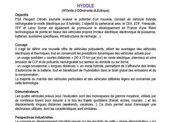 [Information] Projet HYDOLE H110