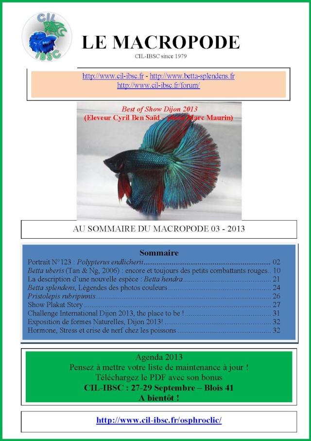 Sommaire de la revue du Macropode. 2013-011