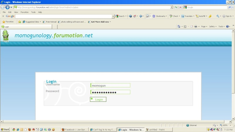 Can't log in to my forumotion Momogu13