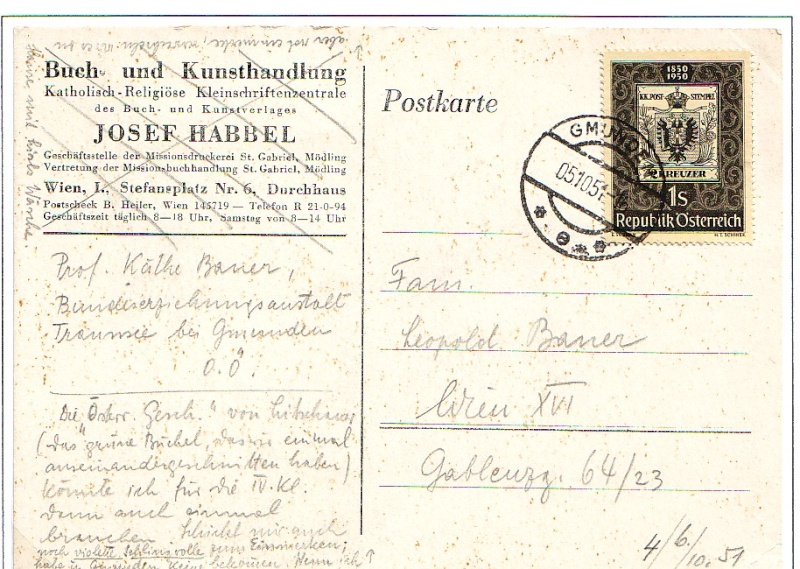 Sammlung Bedarfsbriefe Österreich ab 1945 195014