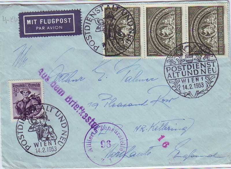 Sammlung Bedarfsbriefe Österreich ab 1945 195210