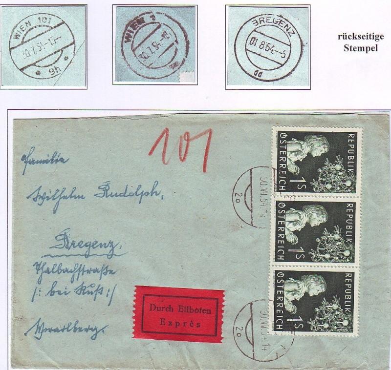 Sammlung Bedarfsbriefe Österreich ab 1945 195310