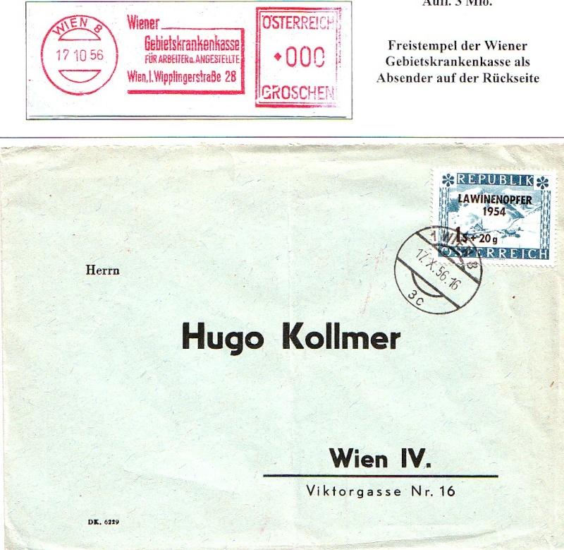 Sammlung Bedarfsbriefe Österreich ab 1945 195414