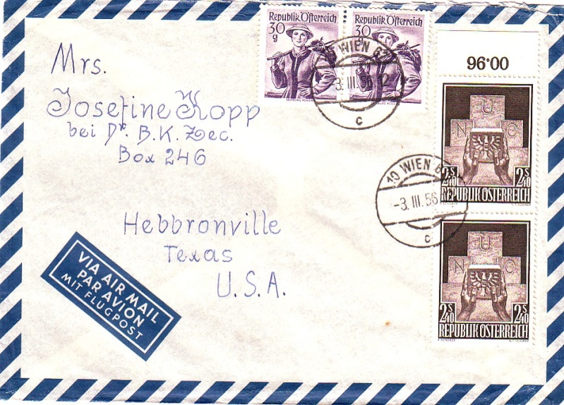Sammlung Bedarfsbriefe Österreich ab 1945 195610