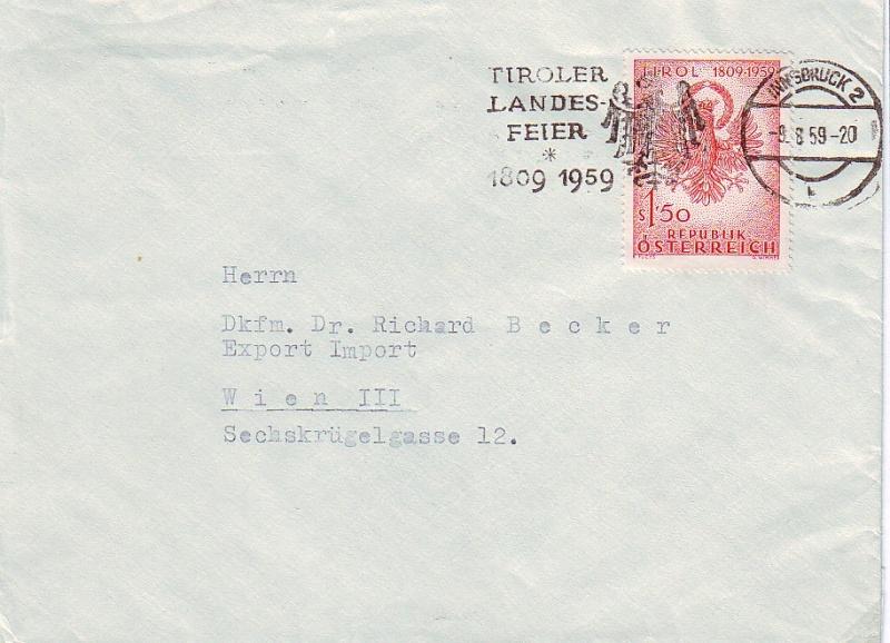 Sammlung Bedarfsbriefe Österreich ab 1945 195910