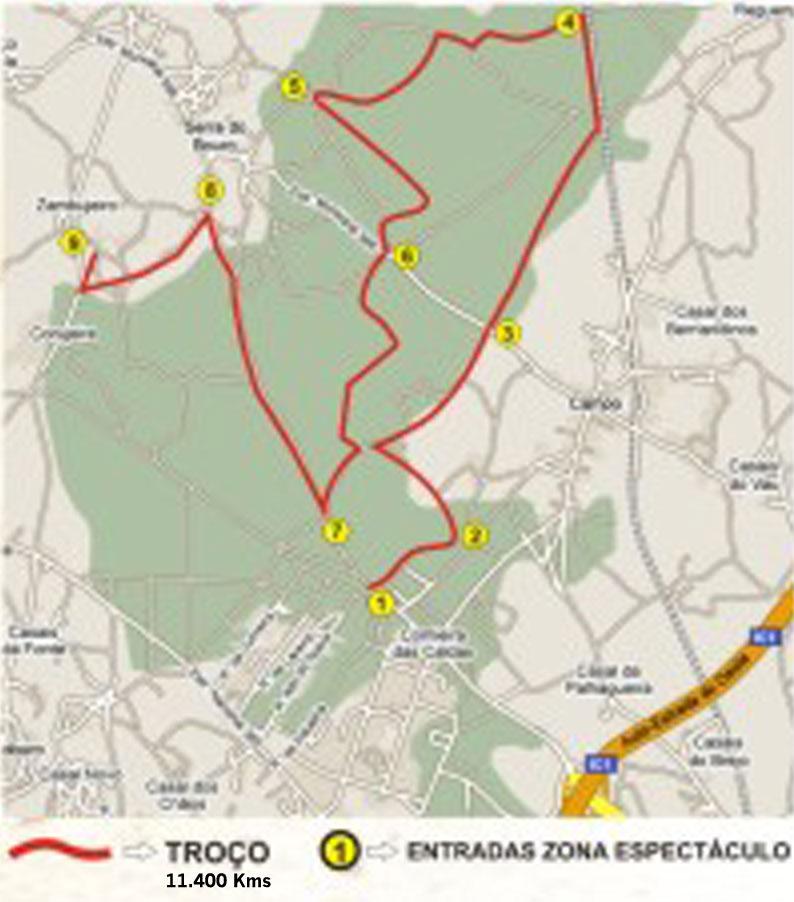 Mapa do troço e da super-especial do Rali das Caldas 2009 Caldas10