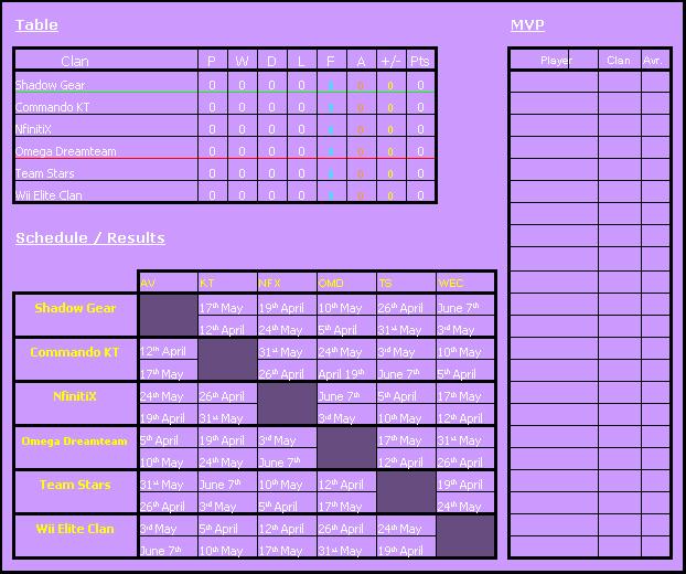 Calendario WCL - Divison F.I.B Fibdiv10