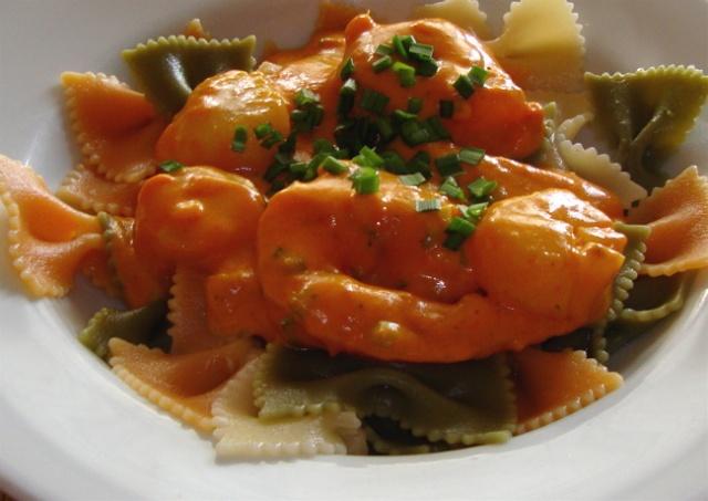 Pétoncles et crevettes au gingembre sur pâtes pour deux 7_crev10