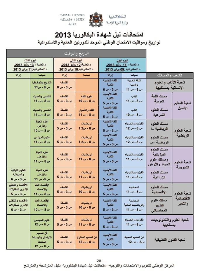 تواريخ ومواقيت الإمتحان الوطني الموحد للدورتين العادية والإستدراكية Bac20110