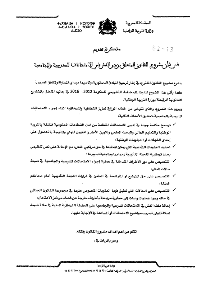 قانون رقم 02.13 المتعلق بزجر الغش في الامتحانات المدرسية و الجامعية Ph210