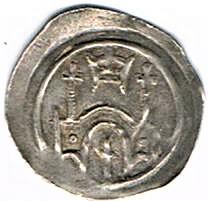 Denier (Pfennig) de l'Abbaye de Wissembourg, type au portail et à la couronne Ccf29017