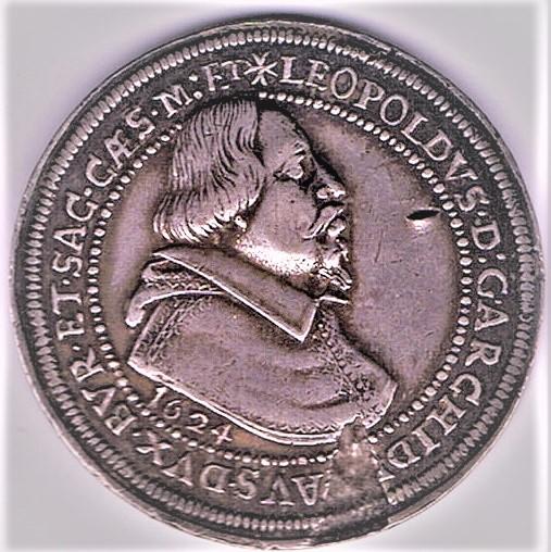 73. Taler (60 kreutzer) 1624, à l'effigie et armorial de l'archiduc Léopold V (1620 - 1632) Ensisheim Ensish10