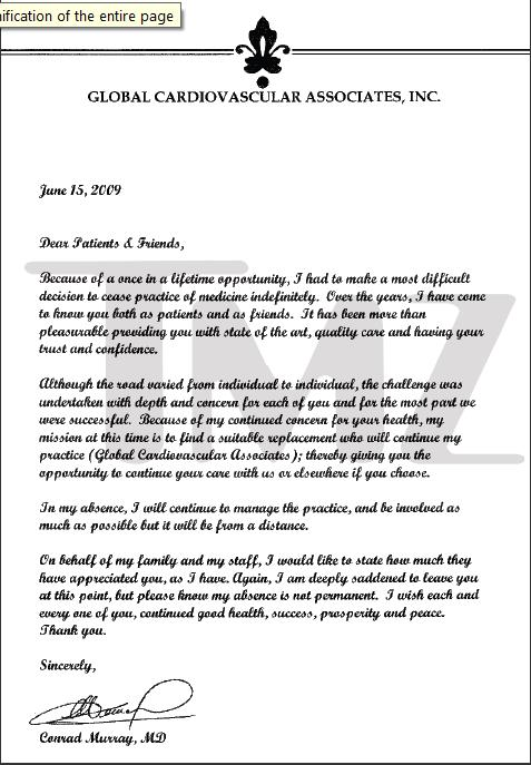 """Letter from Dr M to """"Patients"""" dated June 15th, 2009 Murryl10"""