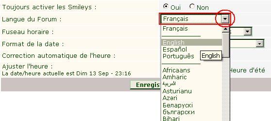 fonctionnalités du forum: changer la langue F10