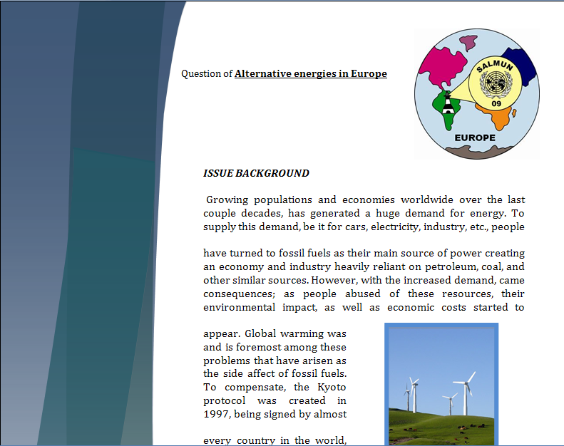 Europe Study Guide - Question of Alternative Energies in Europe Energy10