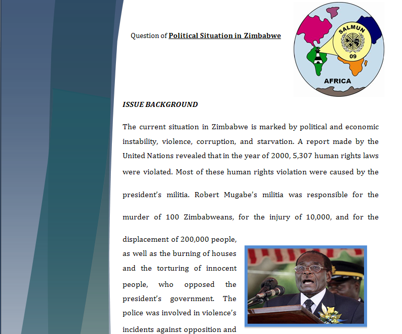 Africa Study Guide - Question of Political Situation in Zimbabwe Zimbab10