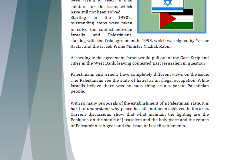 Middle East Study Guide - Question of Creation of a Palestinian State Palsta11