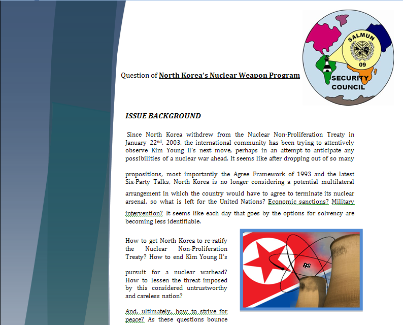 Study Guide Security Council - Question of North Korea's Nuclear Program Northk10