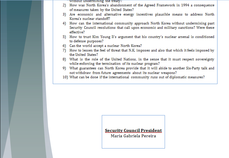 Study Guide Security Council - Question of North Korea's Nuclear Program Northk21