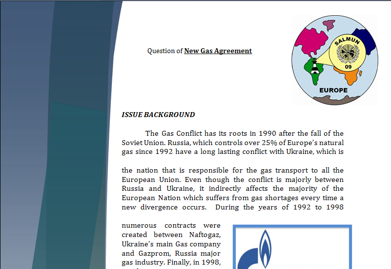 Europe Study Guide - Question of New Gas Agreement Gaspar10