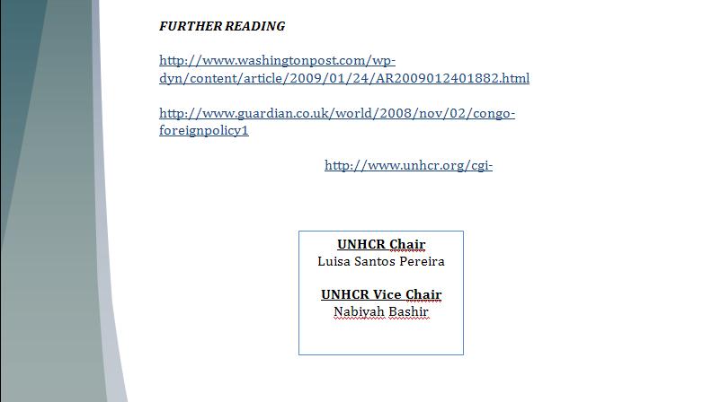 UNHCR Study Guide - Question of Congo's Humanitarian Crisis Congop19