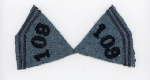Pattes de col du 109 RI 14/18 Bleu horizon ESC - MAR 5 VENDUES 109ri314