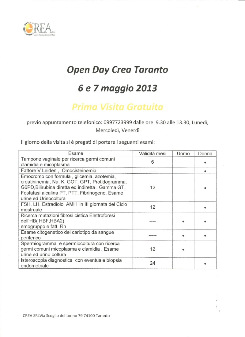 OPEN DAY CREA TARANTO - PRIMA VISITA GRATUITA 6 e 7 MAGGIO Open_d10
