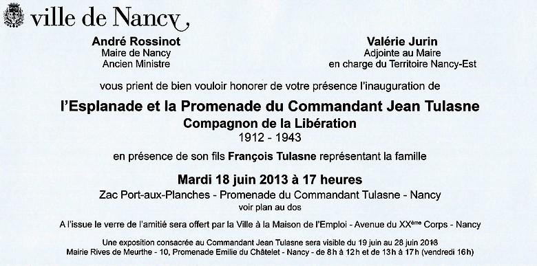 Mardi 18 Juin 2013 seront inaugurés à Nancy l'Esplanade et la Promenade du Commandant Jean Tulasne Scan0010