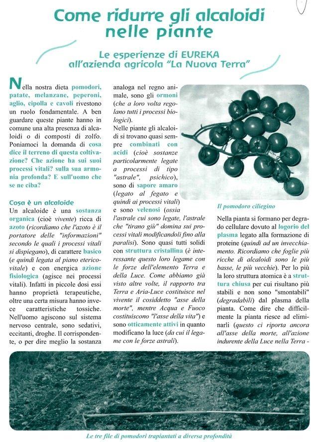 Come ridurre gli alcaloidi nelle piante - Ricerca EUREKA P10