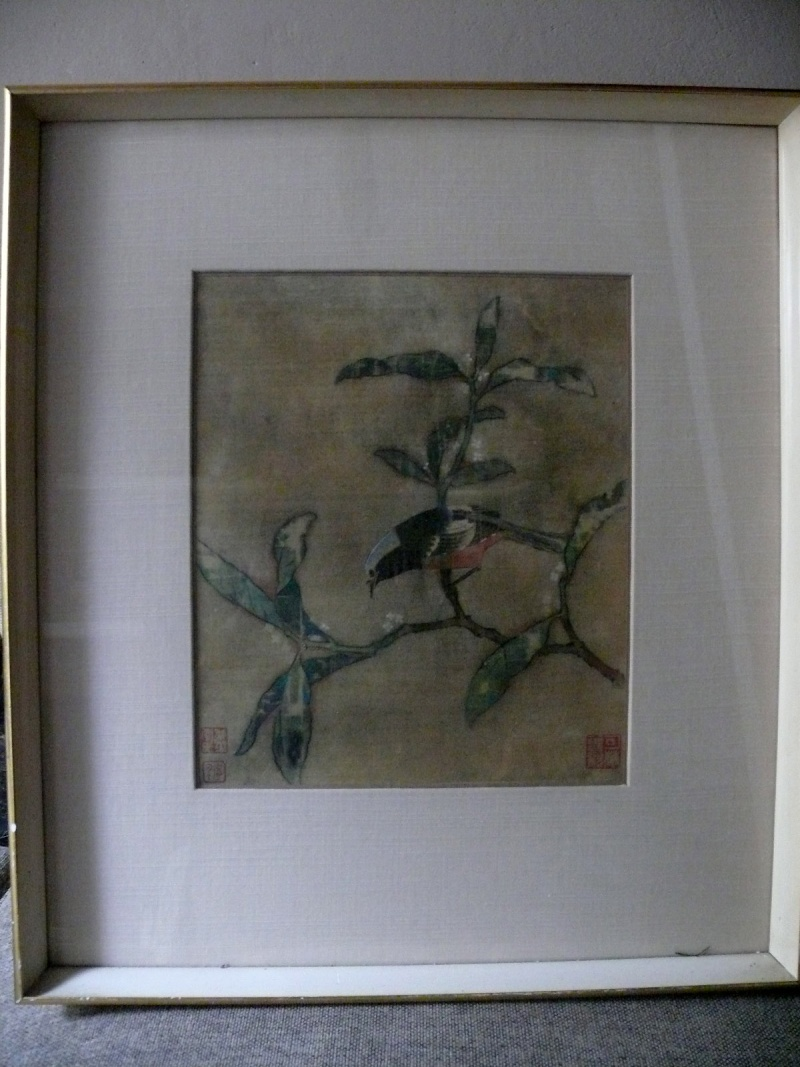 silk painting chinese? with 3 red stamped signatures P1230368