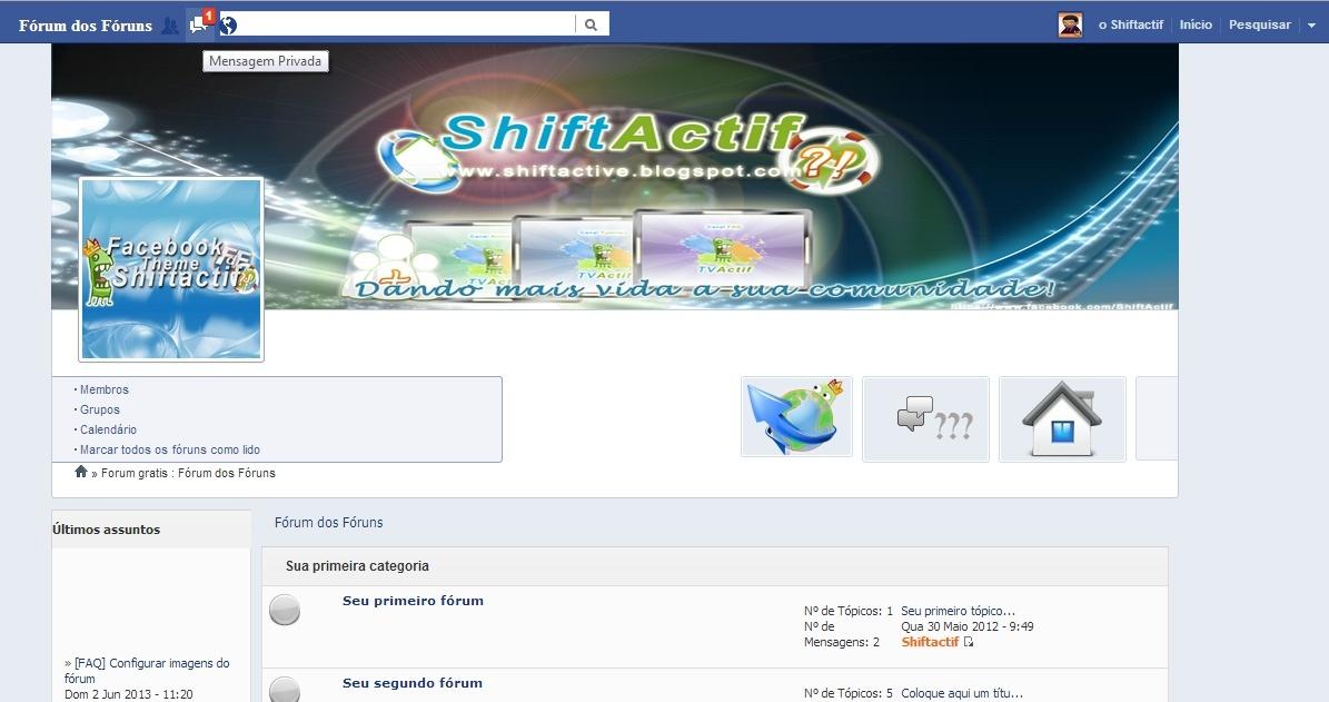 Skinactif Facebook + Foto de capa para PunBB Result10