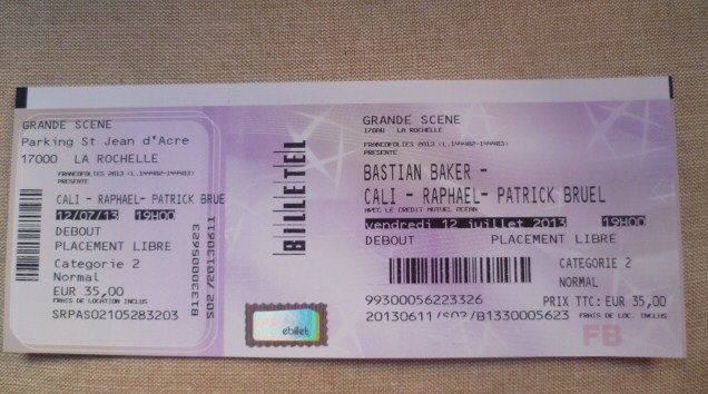 Vends 1 place pour les Francofolies de la Rochelle !! 10031010