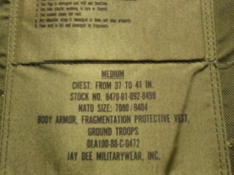 PASGT fragmentation vest  05091112