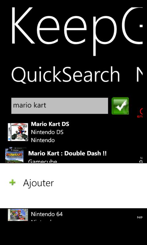 KeepGames Gérer sa collec sur Windows Phone Contex10