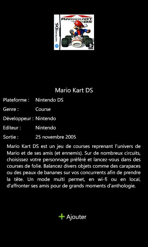 KeepGames Gérer sa collec sur Windows Phone Game10